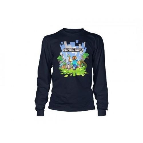 Tričko Minecraft Adventure with Logo Boys 8-20 dlouhý rukáv dětské, námořní modř
