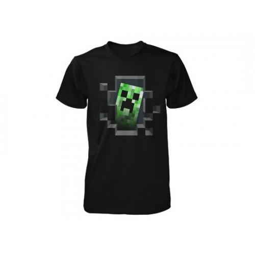Tričko Minecraft Creeper Inside dětské, černé