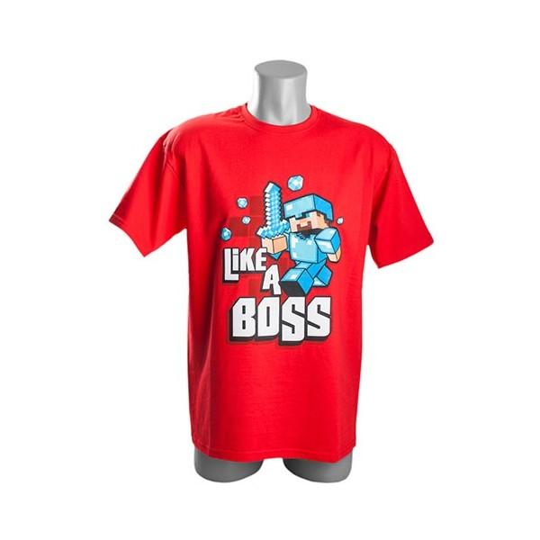 Tričko Minecraft Like a Boss EU, červené