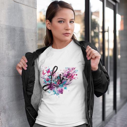 Tričko dámské - Love Srdce z motýlů a květin