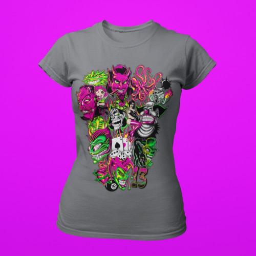 Tričko dámské kreslené tetování, Klaun, Kostky, Ďábel
