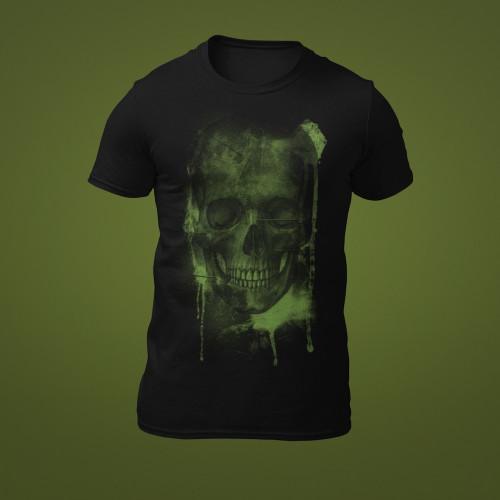 Tričko Zelená slizová děsivá lebka