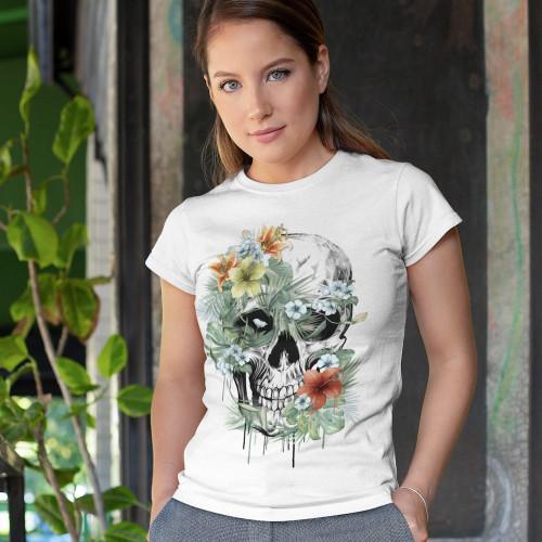 Tričko dámské - Lebka tropická džungle