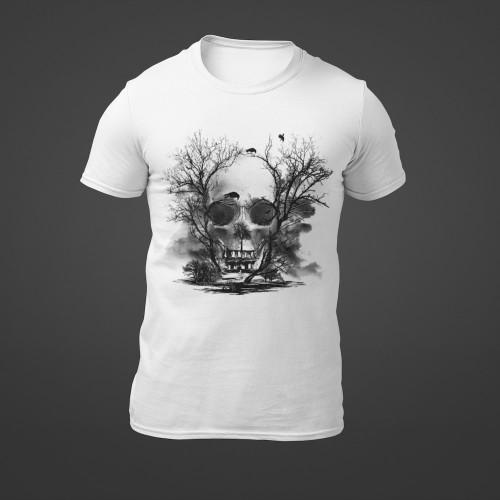 Tričko Lebka Stromy Strašidelný dům