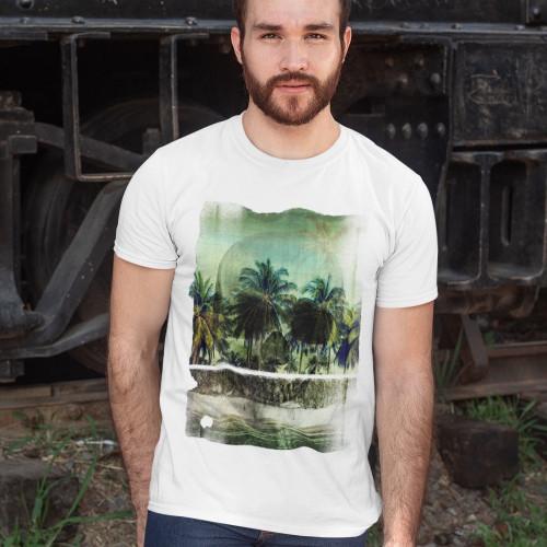 Tričko Lebka Tropická pláž