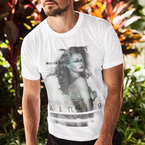Tričko Krásná žena a palmové stromy