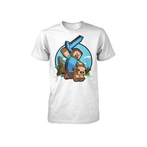 Tričko Minecraft Pig Riding dětské