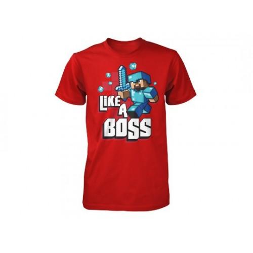 Tričko Minecraft Like a Boss dětské